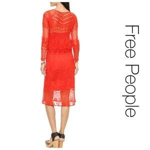 Free People Pimento Red Luna Lace Dress XS